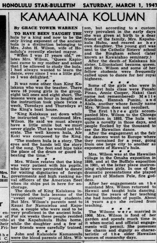 KINI KAPAHU WILSON: Kamaaina Kolumn, 1947 -