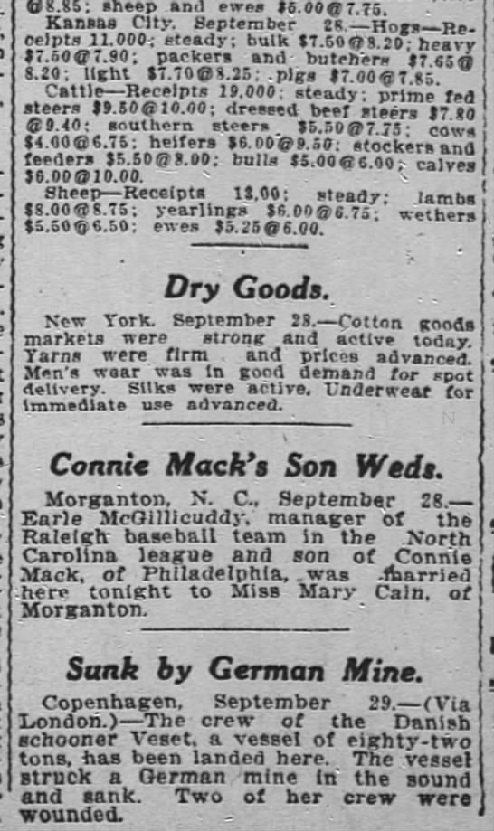 1915 Miss Mary Cain of Morgantown marries Connie Mack's son -