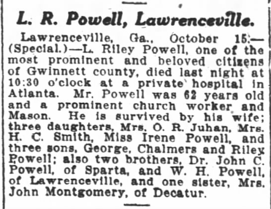 Powell TR death notice Atl Const 10-16-1917 -