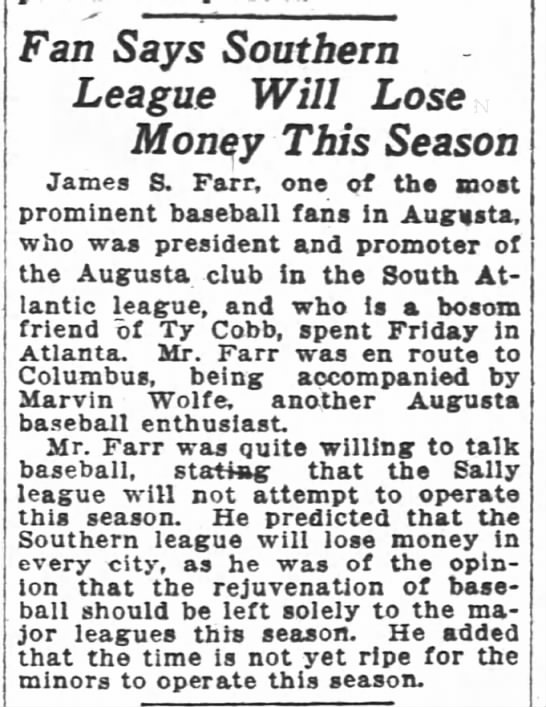 1919-03-22 FARR JAMES S BASEBALL SEASON - Fan Says Southern League Will Lose Monqy This...