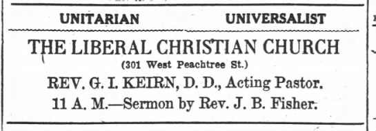 1918.12.07 Ad Liberal Christian. Sermon by Rev. J.B. Fisher -