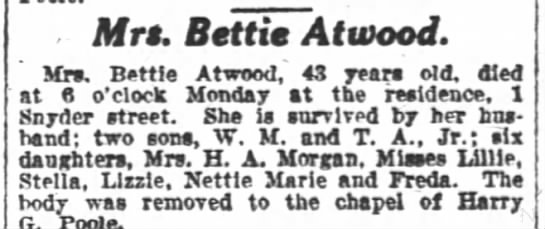 Atwood, Mrs. Bettie  obit