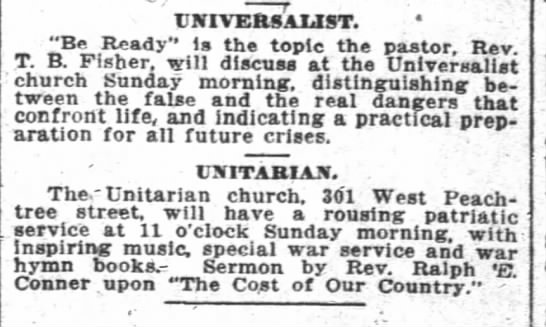 1917.12.01 Unitarian and Universalist Services -