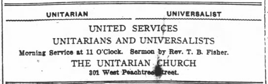 1918.04.20 Large Ad for Joint U-U Service. Rev. Fisher (Universalist) -
