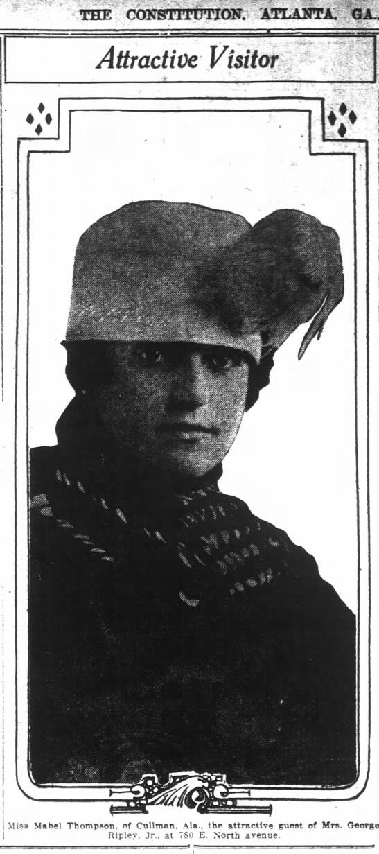 1918 Photo of Miss Mabel Thompson of Cullman AL -