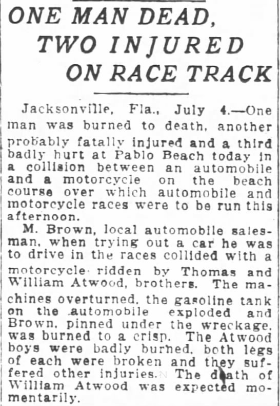 Atwood, Thomas and William struck by car. 