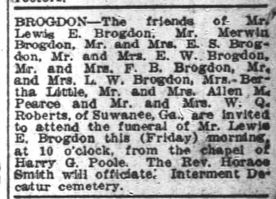 Lewis Brogdon Funeral notice -