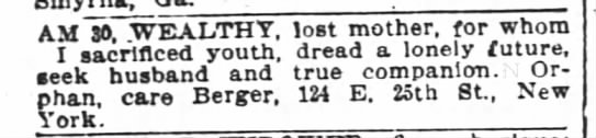 1898 personal ad: 30, wealthy, lost mother -