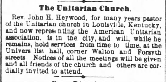1881.03.12 Rev. J Heywood Represents Unitarians -