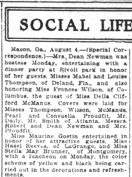 1917 Mabel and Louise Thompson of Deland FL in Macon GA visiting -