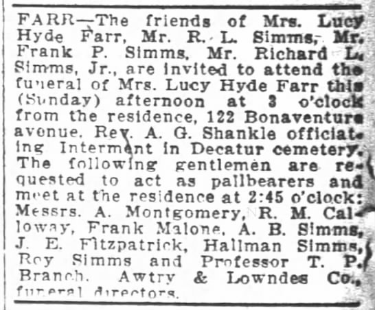 1922-05-14 FARR LUCY HYDE FUNERAL - FARR The friends of Mrs. Hyde Farr Mr. R.-I...
