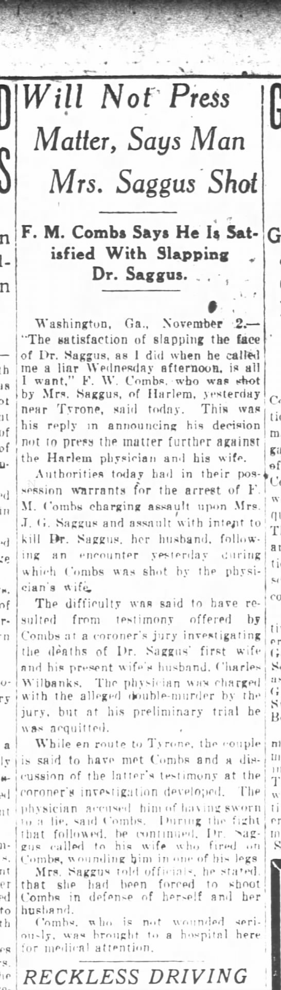 Atlanta Constitution Newspaper 3 Nov 1922 Page 7: Will Not Press Matter, Says Man Mrs. Saggus Shot -