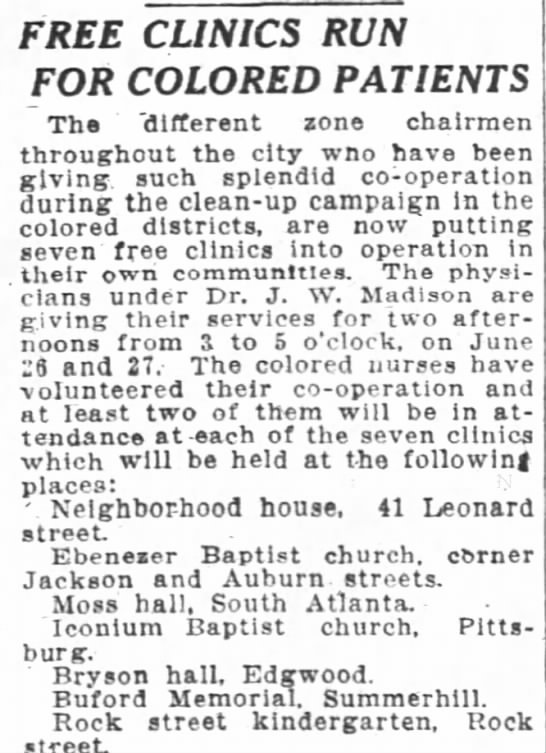 1919 GA (NURSE) Free Clinic Open and Colored Comm Clean Up -