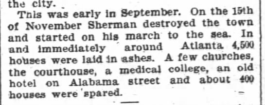 4,500 homes destroyed by Sherman's troops -