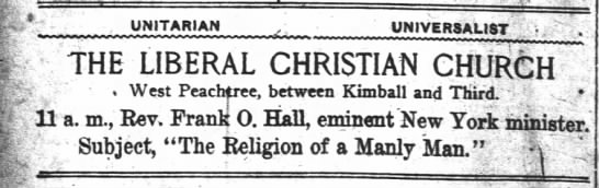 1918.09.12 Notice - Large Ad for Liberal Christian Church. Rev. Hall in Pulpit -