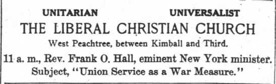 1918.09.28 Large ad for Liberal Christian Church.  Rev. Frank O. Hal -
