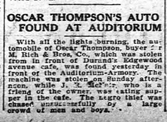 1912 Oscar Thompsons auto found after Durands cafe dinner -