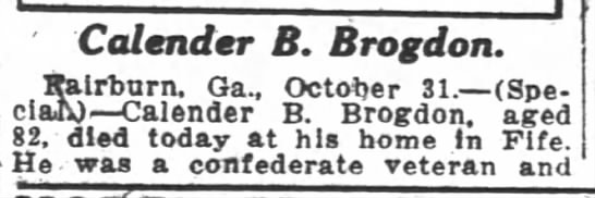 Calender B. Brogdon obit pt 1 -