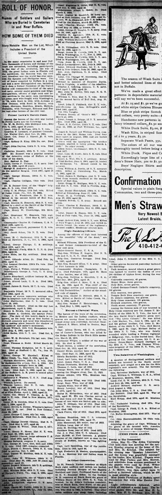 Roll of Honor, The Buffalo Commercial, (Buffalo, New York) May 31, 1900, page 8 -