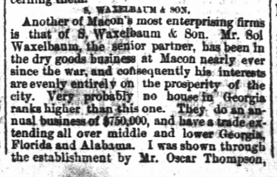 1882 Oscar Thompson bookkeeper at Waxlbaum n Sons -