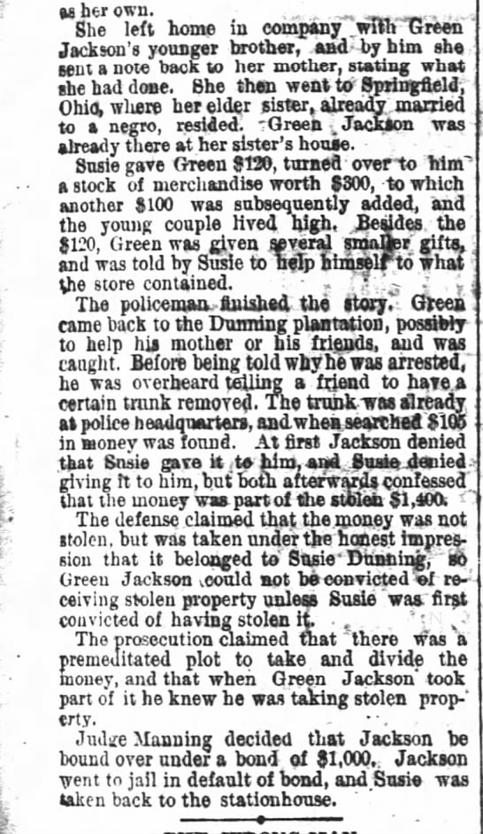 Susie As Her Own- The Atlanta Constitution ( Atlanta, Georgia) 7 March 1888 - so her own. She left home in company...