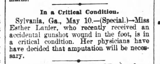 - In a Critical Condition. Sylvania Ga. May 10....