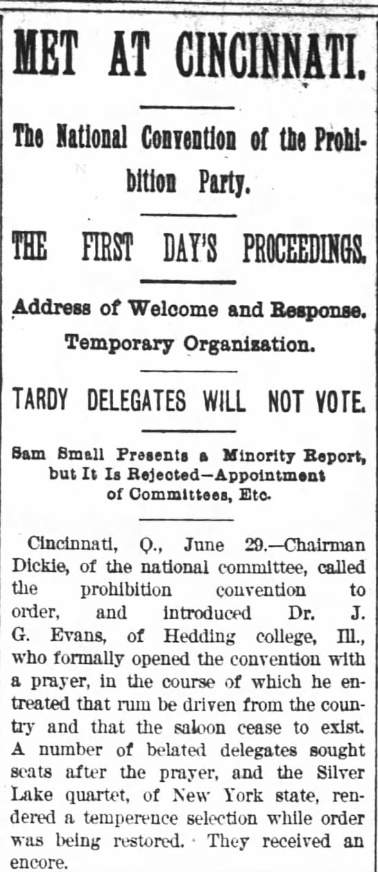 National Prohibition Convention, Atlanta Constitution, June 30, 1892 -