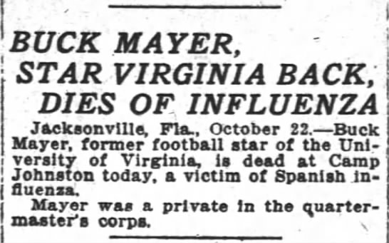 Buck Mayer, Star Virginia Back, Dies Of Influenza -