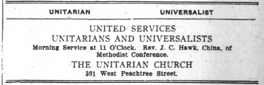 1918.05.11 Large Ad for Joint U-U Service. Rev. J.C. Hawk, China, of Methodist Conference -