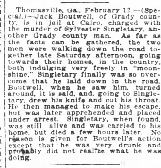 Article from The Atlanta Constitution. The murder of Sylvester Singletary. -