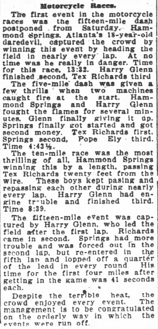 Springs Results July 6, 1920 -