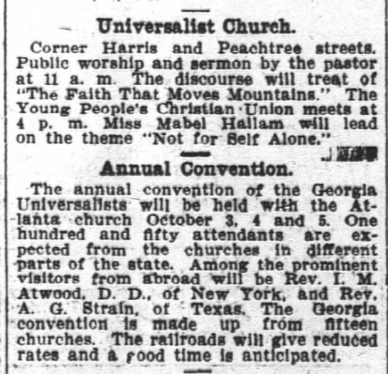 1902.09.07 Universalist Hold Annual Convention in Atlanta -