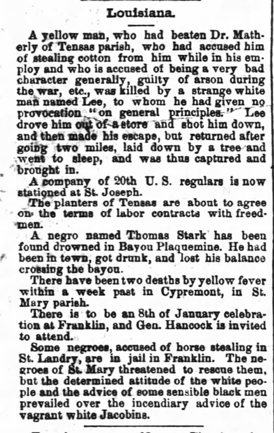 The Times Picayune New Orleans LA 8 January 1868 Dr. Matherly -