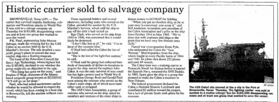 USS CabotThe Facts Clute, TexasSeptember 10, 1999Page 8A, Columns 1 - 6 - Historic carrier sold to BROWNSVILLE, Texas...