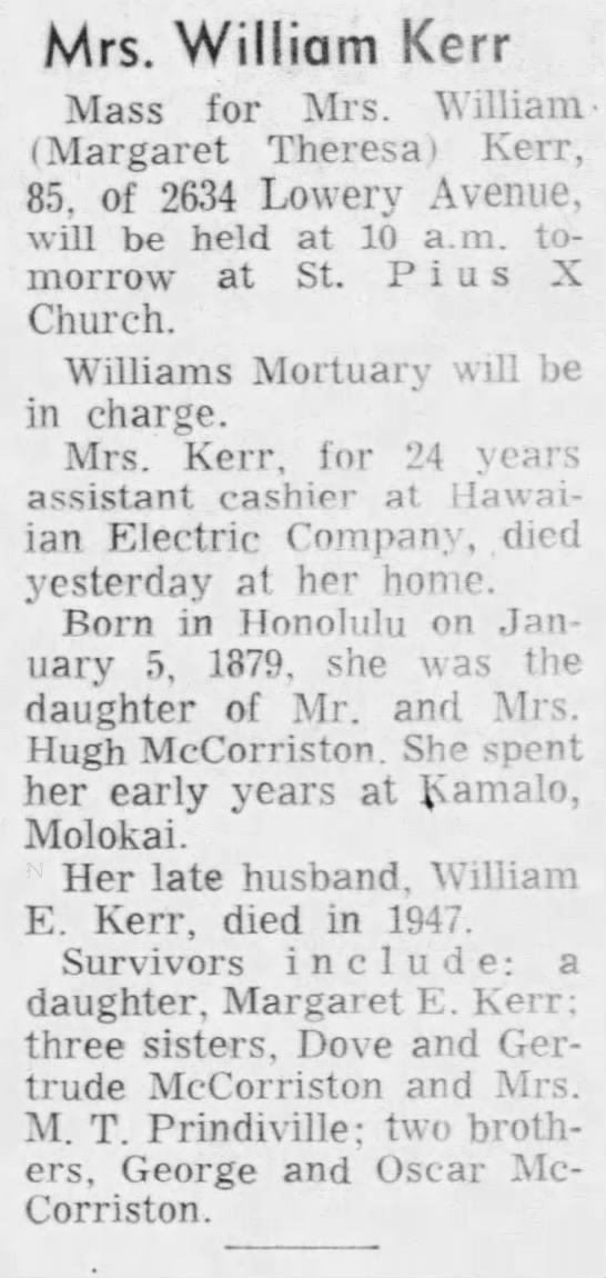 MARGARET THERESA MCCORRISTON: Obituary, 1964 -