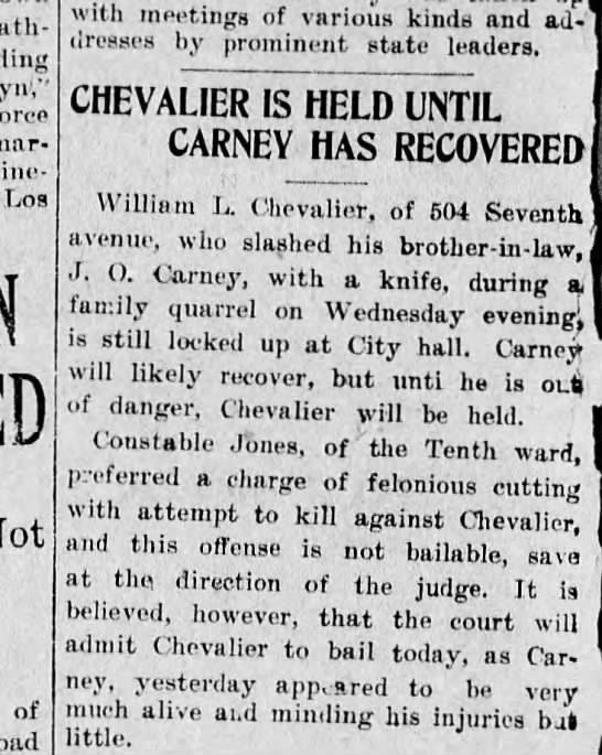 Wilbur Chevelier-Stabbing of Oliver Carney -