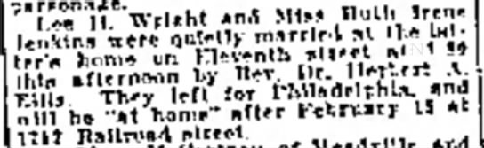 Lee H Wright, Marriage News, Oil City Derrick, Jan 19, 1917 -