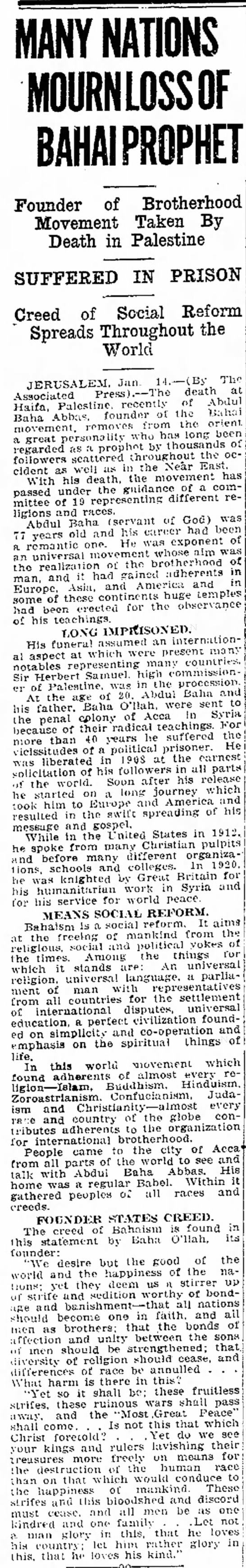 echo of AP extended coverage of passing of Abdu'l-Baha -