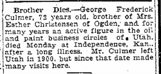 another death notice George Frederic Culmer -