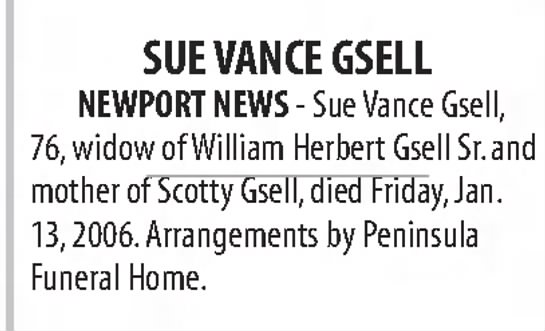 Sue Vance Gsell -Death Announcement 01.15.2006 -