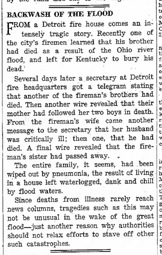 1937 fireman and family die from pneumonia from a flood -