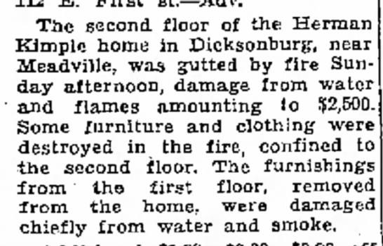 Kimple house fire. -