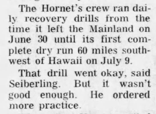USS Hornet crew trains for weeks for splashdown recovery of Apollo 11 -