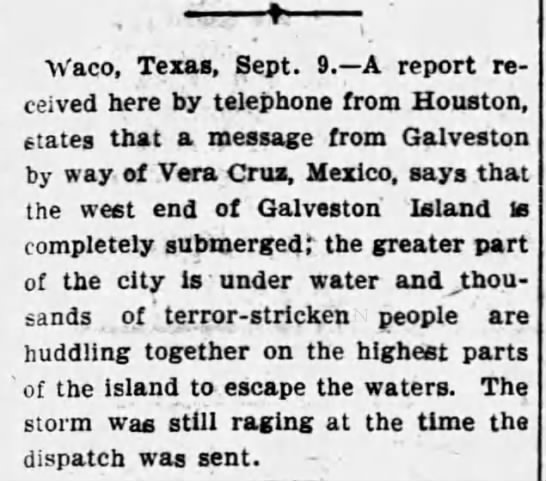 First damage reports from the 1900 Galveston emerge -