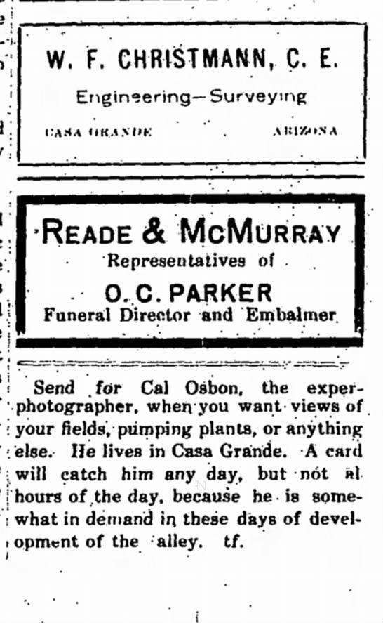 Cal Osbon - 13 Mar 1914 - Casa Grande Dispatch, AZ -