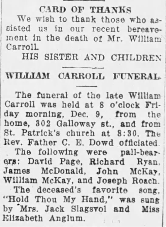 William P Carroll funeral- favorite hymn