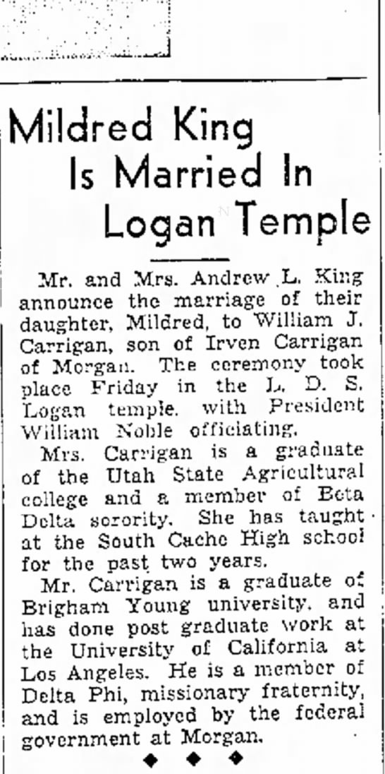 1936 Marriage of William J. and Mildred King Carrigan -