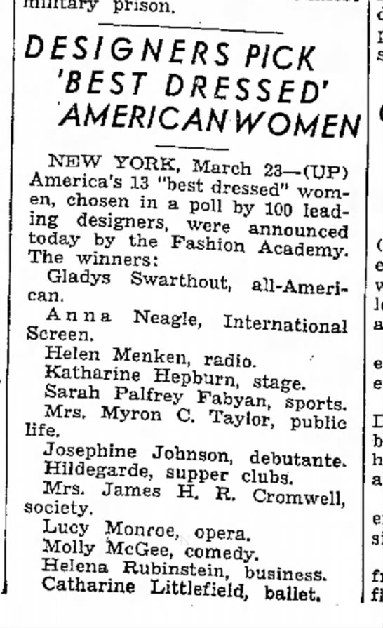 "Catherine Littlefield ""Best Dressed"" 23 Mar 1940 - big as military prison. DESIGNERS PICK 'BEST..."