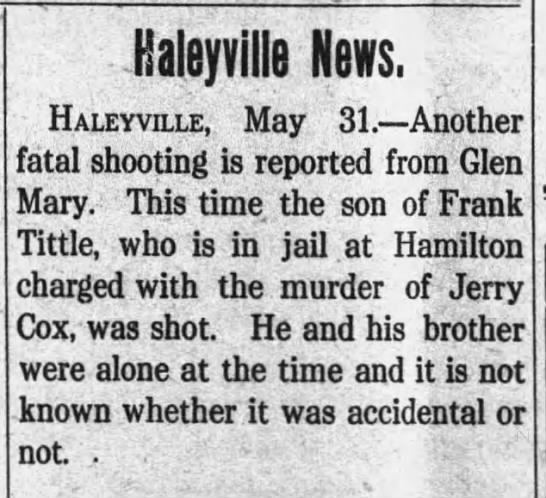- Haleyvilte News. Haleyvoxe, May 31. Another...