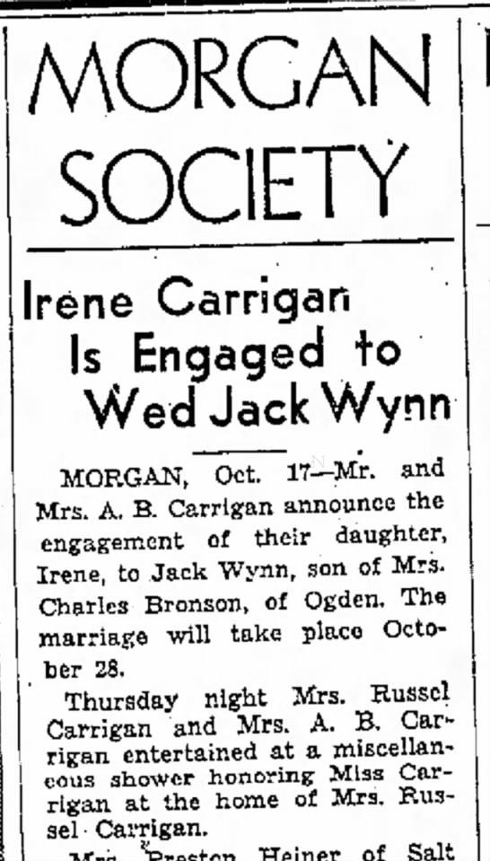 1936 Pauline Carrigan's engagement announcement -
